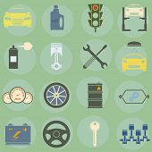 Vector illustration of icons on car repairs