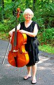 Female cellist.