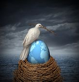 picture of rest-in-peace  - Global Peace and hope for no war in the middle east and the rest of the planet with a white dove building a nest with twigs and a fragile egg with the map of the world on a cloudy sky and ocean - JPG