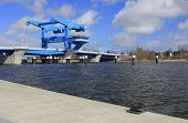 foto of peen  - The stroke bridge across the Peene river to get out in the Baltic Sea - JPG