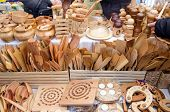 pic of food preparation tools equipment  - handmade diy wooden kitchen utensil tools sold in bazaar store fair - JPG
