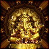 stock photo of hindu-god  - Image of Golden Sculpture Hindu God Ganesha - JPG