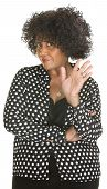 picture of insulting  - Insulted mature lady in polka dot over white background - JPG