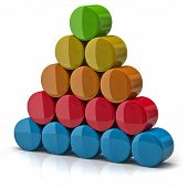 picture of cylinder pyramid  - Layer pyramid made from colorful cylinders on white background - JPG