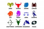 Set Of Astrological Zodiac Symbols.horoscope Signs.