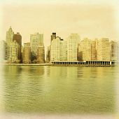 Vintage style photo of Manhattan skyline.