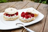 Pavlova Cake With Raspberries And White Meringue
