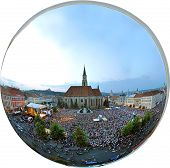 Orthographic panorama projection of a city square full with people