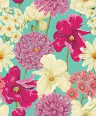 stock photo of tropical plants  - Floral seamless pattern with flowers in watercolor style - JPG