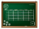 Timetable Hand Drawn On Chalkboard