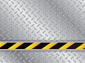 image of hazard symbol  - Abstract metallic plate background with striped industrial line - JPG