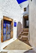 traditional greek streets. Patmos island