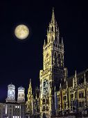 Night Scene Munich Town Hall And Moon