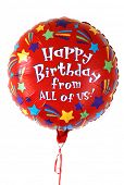 Colorful red balloon that says Happy Birthday