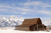 Winter view of the Moulton Barn in the Teton National Park