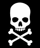 pic of jaw-bone  - Skull and bones vector illustration on black - JPG