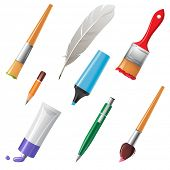 Writing and painting tools icons