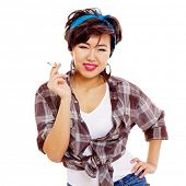 Difficult asian pin-up girl with cigarette in hand. Isolated on white background, mask included