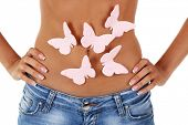 stock photo of belly-band  - Butterfly on stomach isolated on white - JPG