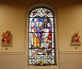 Stained Glass And Wall Statues