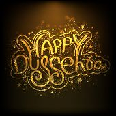 Shiny golden text Happy Dussehra on brown background for Indian festival.