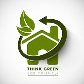 Nature concept with green leaves, eco house and text think green.
