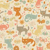 Bright seamless pattern with cats and butterflies in flowers. Seamless pattern can be used for wallp