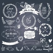 stock photo of chalkboard  - Wedding romantic collection with labels - JPG
