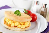 English Muffin And Scrambled Eggs