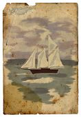 Sailboat At Sea. Old Postcard. Isolated
