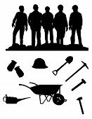 picture of hard_hat  - silhouette of five miners and stuff for edit - JPG