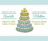 Wedding Invitation Card - Macaroons and Desserts Theme - in vector