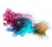 0_watercolor Blue, Brown, Purplesplash Isolated Spot Handmade Colored Background Annotation Ink On P
