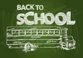 Back To School Bus Text Chalkboard Illustration Eps10 File.