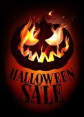 Halloween sale design with burning pumpkin. Eps10