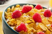 stock photo of cereal bowl  - Healthy Cornflake Cereal for Breakfast with Berries - JPG