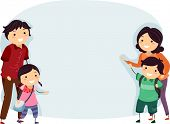 stock photo of stickman  - Banner Illustration of a Happy Stickman Family  - JPG