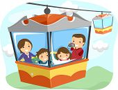 stock photo of stickman  - Illustration of a Stickman Family Riding a Cable Car - JPG