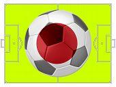 Soccer Football With Japan Flag Illustration, Concept
