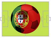 Soccer Football With Portugal Flag Illustration, Concept