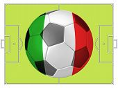 Soccer Football With Italy Flag Illustration, Concept