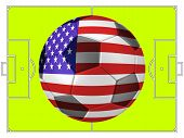 Soccer Football With America Flag Illustration, Concept
