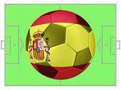 Soccer Football With Spain Flag Illustration, Concept