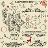 foto of deer  - vector vintage holiday floral design elements and snowflakes fully editable eps 8 file standard AI fonts - JPG