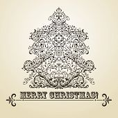picture of std  - vector vintage Christmas greeting card with highly detailed fir tree on gradient background fully editable eps 8 file standart AI font  - JPG