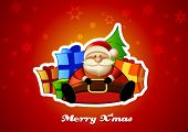 Sitting Santa with presents on red background.