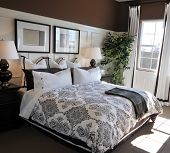 foto of interior  - Beautiful large showcase bedroom interior in new home - JPG
