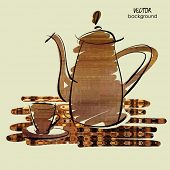 art sketching vector of coffeepot and cup on table in brown color