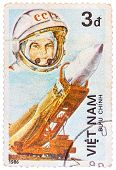 Postage Stamp Printed In Vietnam Shows First Spaceman Yuri Gagarin