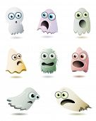 Cute Ghosts Collection- Set of eight cute and funny ghosts isolated on white background vector illustration.